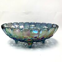 Indiana Carnival Glass Large Oval Footed Blue Harvest Grape Fruit Bowl EUC