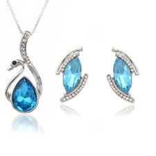 Blue Rhinestone Swan Silver Necklace And Earrings Set Costume Jewellery