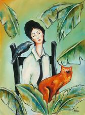 CUBAN ART #186 Nora Meacudey ** Amiga de la Naturaleza ** ORIGINAL OIL 31.5x23.