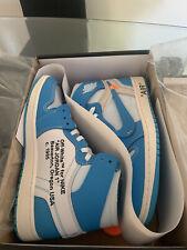 Off White Air Jordan 1 University Blue UNC Size 9.5 100% Authentic