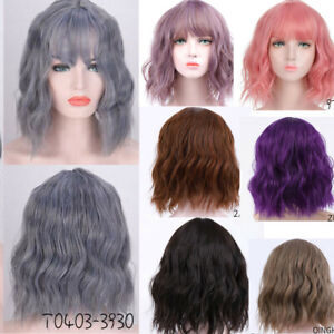 """14"""" Short Wavy Curly Bob Full Wigs With Bangs Synthetic Cosplay Wig For Women"""