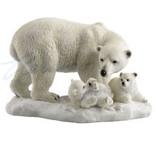 """Polar Bear and Cubs Detailed Figurine Miniature Statue 9""""L New"""