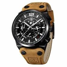 Men's Watch Military Tactical Leather Chronograph Sport Watches Quartz BENYAR