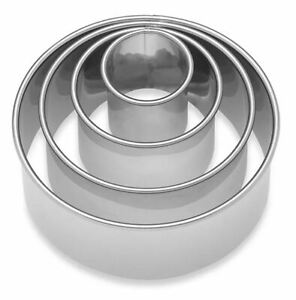 Ateco® 4-Piece Stainless Steel Plain Round Cookie Cutter Set - New with Open Box