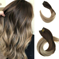 Ugeat 10Pcs Straight Clip in Hair Extensions Human Hair Balayage Brown to Blonde