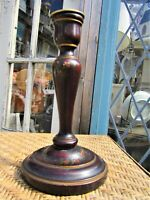 Antique Tall Hand Turned Painted English Wooden Candlestick Candle Holder