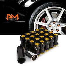 M12X1.5 Gold JDM Closed End Lug Nuts+Spline Locks+Key+Extension 22mmx45mm 20Pc