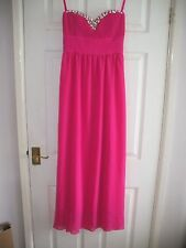 LADIES CERISE PINK STRAPLESS PROM/BRIDESMAID DRESS SIZE 10 FROM MAYA DELUXE
