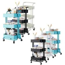 Metal Rolling Utility Cart Kitchen Trolley Cart Mobile Storage Shelves Rack