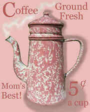 Free Shipping Pink Swirl Graniteware Kitchen Coffee Diner Pantry Shabby Sign