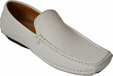 Men's White Casual Leather  Moccasins Loafer Slip On Driving Comfort Shoes cowfd