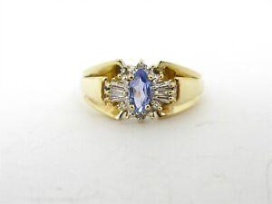 Estate 10k Yellow Gold Natural Tanzanite & Diamond Ladies Ring 3.1g