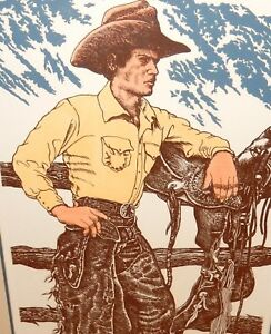 """DENNY SANDERS """"BRONC RIDER"""" HAND SIGNED LIMITED EDITION COLOR ETCHING"""