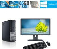 Cheap fast PC & Monitor Core i5 i3 DESKTOP TOWER WINDOWS 10 16GB 2TB 240GB SSD