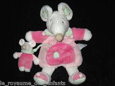 Doudou & Compagnie Souris Léonie blanche rose et verte avec son bébé
