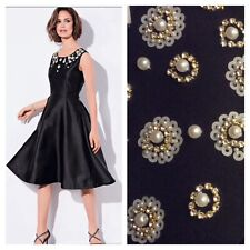 Kaliko Designer Size 12 Black Beaded Special Occasion DRESS Wedding Party £130