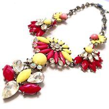 Amrita Singh Statement Necklace Designer Signed Floral Rhinestone Bold Boho Chic