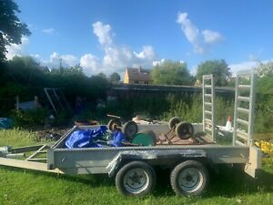 Mini Digger Plant Trailer, Attached Ramps, Eye Hitch, Used