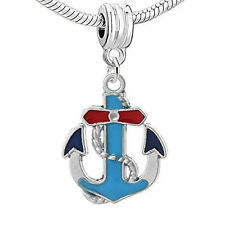 Enamel Blue and Red Anchor Charm Bead