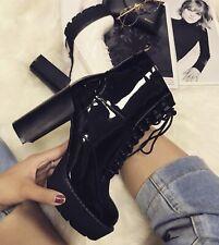 anfibi neri lucidi donna in vendita Scarpe | eBay