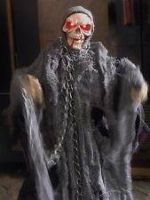 "HALLOWEEN ANIMATED LIGHTED BLOODY SKULL SKELETON REAPER FIGURE UMBRELLA DOLL 24"""