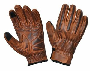 Men's Motorcycle Brown Leather Gloves Free Shipping
