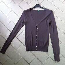 Cardigan classico Benetton tg s donna maglia bottoni color vinaccia marrone asos