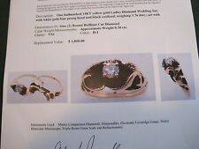 J195 ladys 14K gold  1960's style solitare diamond engagement and wedding rings
