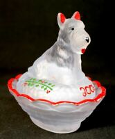 Boyd Hand Painted Scottie Dog Covered Salt Crystal Valor Satin Christmas 2003