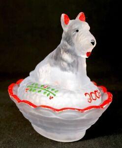 Boyd Hand Painted Scottie Dog Covered Salt Crystal Valor Satin Christmas 2003