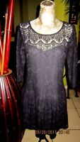 TOBE!>Black Lace Dress>Size M>Cotton-Poly-Some Stretch>Sleeves>Lined