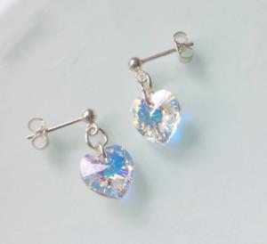 Brand New Sterling Silver & 10mm Swarovski Crystal Ab Heart Stud Earrings -boxed