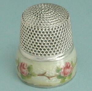 Antique Enameled Roses Band Sterling Silver Thimble * American * Circa 1900