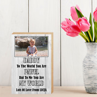 """Personalised Wooden Block Photo Daddy Mummy Picture Frame 6x4"""" Gift Present"""