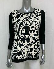 CATHERINE MALANDRINO DESIGN NATION Black/Cream Knit Pullover Sweater sz S