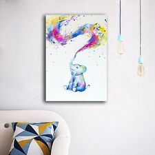 Colorful Elephant Stretched Canvas Prints Wall Art Home Decor Framed Painting