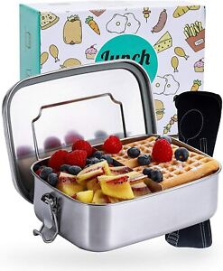 Edelstahl Lunchbox mit Trennwand & Besteck Vesper Frühstück Brot Dose Bento Box