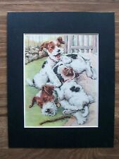 Dog Fox Terriers Print Winifred Martin Pups No Rest 4 Mom Bookplate 1950s Matted