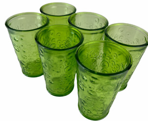 Set of 6 Drinking Glasses - Green Recycled Glass - Flora Design 300ml