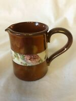 Antique Copper Lusterware 3 Inch Pitcher PINK FLOWERS Luster Lustre Very Pretty