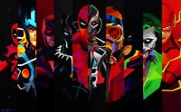 Marvel And DC Comics - Cartoon Superhero Movie Characters Art Canvas Pictures