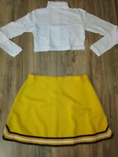 "Cheerleader Uniform Outfit Adult XXL Large Gold 34"" Skirt 3XL White Crop Top"