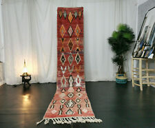 Moroccan Boujad Handmade Vintage Runner 2'2x11'3 Berber Geometric Faded Red Rug