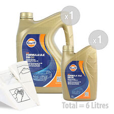 Car Engine Oil Service Kit / Pack 6 LITRES Gulf Formula ULE 5w-30 6L