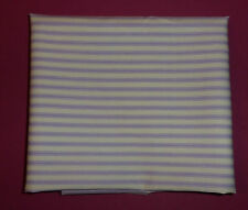 metre cotton poplin with  lilac pillow ticking style stripes on ivory