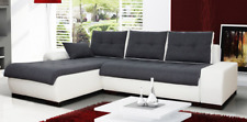 BRAND NEW Corner Sofa Bed PARIS MINI White & Grey With Pull Out Bed & Storage