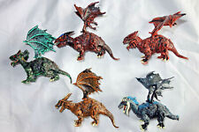 "Scary Dragons, Set of 5 Fantasy Monster Figures Serie, PVC, 2"", New"