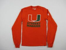 adidas Miami Hurricanes - Men's Orange Cotton Long Sleeve Shirt (XS) - Used