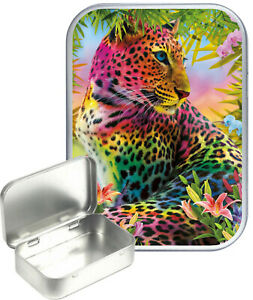 Colourful Leoparrd Small Silver Hinged Gift Tin, 30ml Hinged Tobacco Tin, Craft