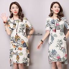Vintage Summer Women Cotton Linen Floral Casual Loose Tunic Maxi A Line Dress XL